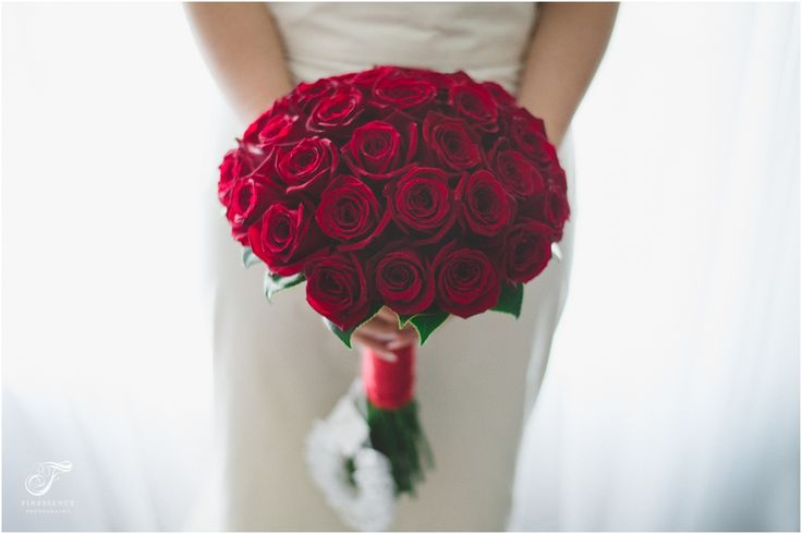 Red rose bouquet so simple and classic // Wedding photography work by Finessence // www.finessence.com.au