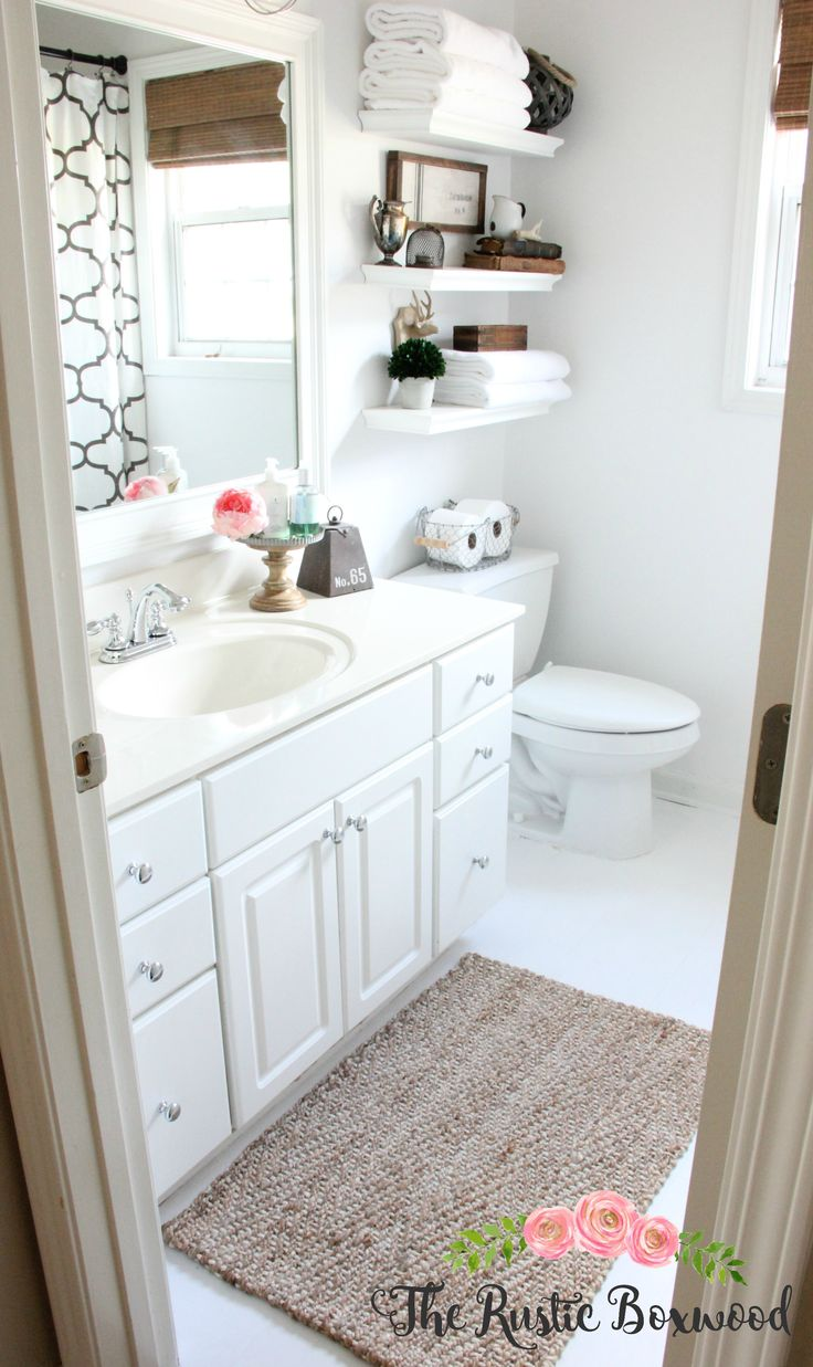 White shelves bathroom - Guest Bathroom Makeover Reveal The Rustic Boxwood Blog Before And After White