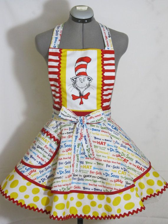 The Cat in the Hat Apron  Birthday Party Funky by AquamarCouture