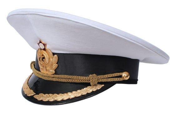 Ussr Soviet Naval Officer White Parade Peaked Visor Hat Of Captains Navy Fleet Visor Hats Military Appreciation Military Cap