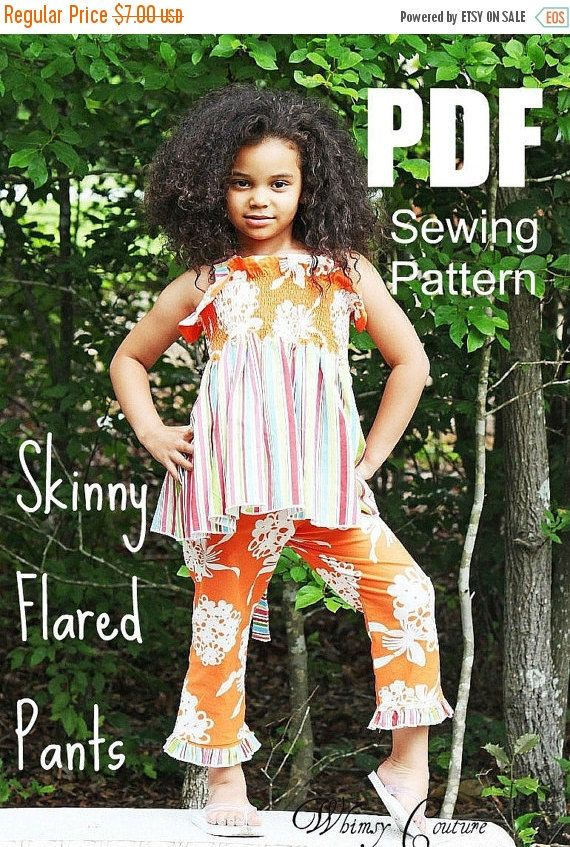 SALE+Girls+Skinny+Flared+Pants+Pattern+Tutorial+by+whimsycouture