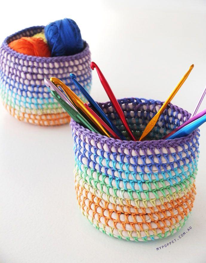 Coil + Crochet Rainbow Basket with t-shirt yarnDIY on MyPoppet.com.au/Makes