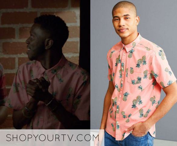 "Jermaine Leforge (Bernard David Jones) wears this pink pinapple printed button down shirt in this episode of The Mayor, ""Pilot"". It is the UO Pineapple Toss Short Sleeve Button-Down Shirt"
