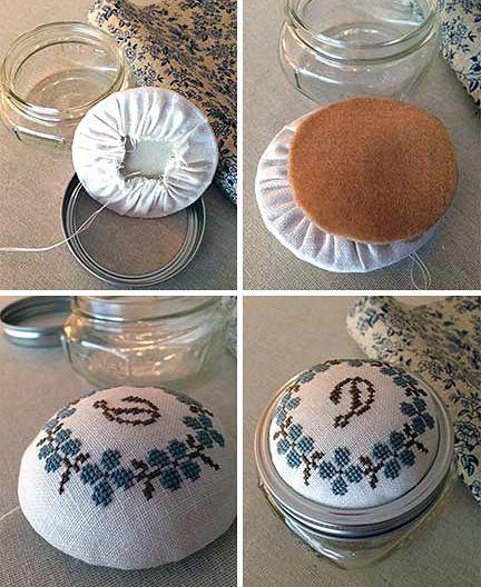Cross Stitch Mason Jar Pin Cushion Tutorial