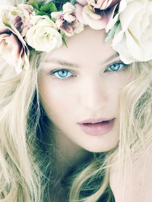 so cool and whimsicalFlower Crowns, Candice Swanepoel, Makeup, Beautiful, Blue Eye, Candiceswanepoel, Flower Children, Hair, Floral Crowns