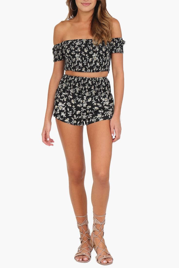 Black Floral Two-Piece Set