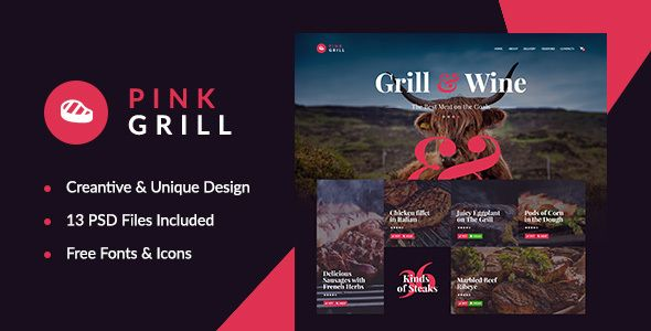 PinkGrill — Restaurant & Cafe PSD Template. Full view: https://themeforest.net/item/pinkgrill-restaurant-cafe-psd-template/16778498?ref=thanhdesign