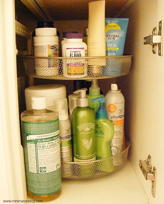 I like the lazy Susan idea for storing bathroom things or medicine bottles. Makes the things in the back more accessible. I might be able to get a double decker lazy Susan in my hall closet.