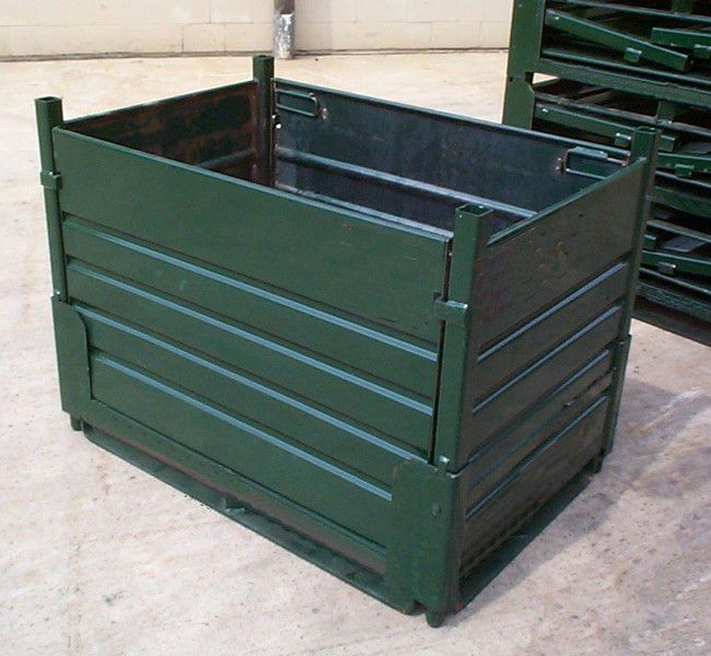 ITEM # 164 – COLLAPSIBLE CORRUGATED SOLID SHEET METAL BINS SKU: R2GW-01. Category: New Bins / Baskets.  Please contact us to discuss Knock-Down styles of containers designed to your needs.
