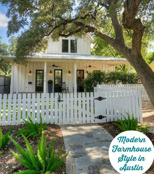 """Architect Steve Zagorski designed this charming """"modern farmhouse"""" within walking distance of downtown Austin. The listing for Milton House, as it's called, says, """"From its wraparound front porch to the giant old-growth Texas Live Oaks that shade the front and back yards, be prepared to fall in love!"""""""