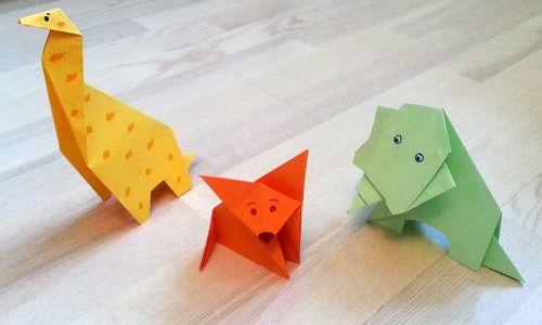 Делаем оригами животных: жираф, слон и лисичка