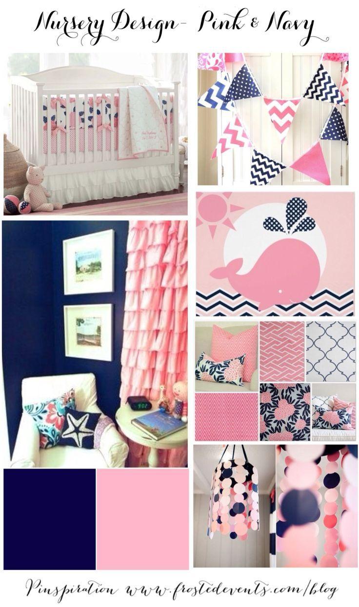 gray navy and pink nursery | Nursery Design- Pink & Navy Blue