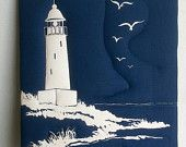 Quilt Fabric Vintage Lighthouse Wall Art Nautical Unique Fabric Framed Art from The Fabric Gallery Punta Gorda, FL /  Read Description