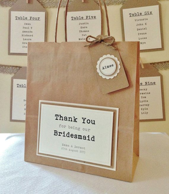 Items Similar To Personalised Bridesmaid Thank You Gift Bag Recycled On Etsy