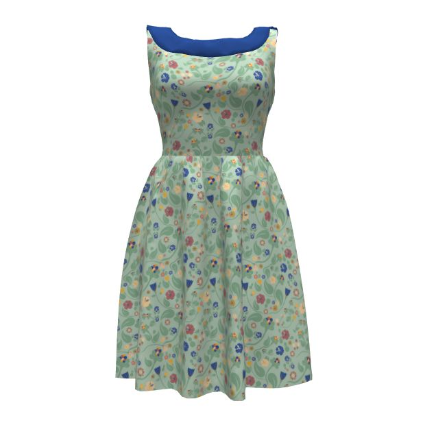 Green Midsummer cut and sew summer dress