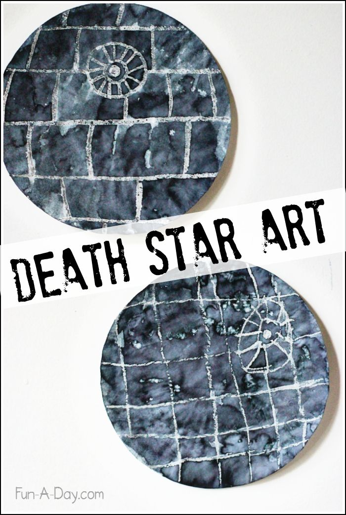 Crayon resist Death Star art! What a fun Star Wars craft for the kids to make!: