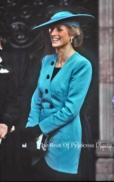 Remember Princess Diana (1 July 1961 – 31 August 1997)   Princess Diana Wearing A Turquoise Jacket Designed By Fashion Designer Catherine Walker To Attend A Friend's Wedding, October 1988.