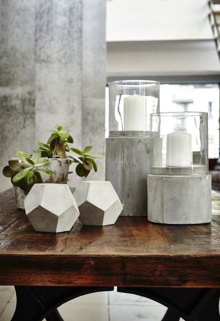 Geometric and stone accessories add an industrial edge to any room  #homedecor #interiors