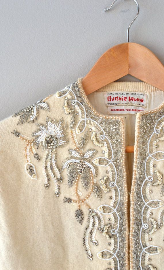 1950s beaded cardigan / 50s wool cardigan