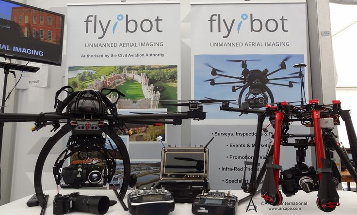 Flyibot were displaying their aerial imaging using Drones equipment.