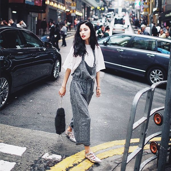 31 Flawless Outfits To Copy This August #refinery29  http://www.refinery29.com/august-outfit-of-the-day-ideas#slide-14  If you love to layer all year 'round, look to pair your loosest-fitting items together (like this killer jumpsuit and white eyelet top). Extra props for iridescent flats, because a New York girl needs practical footwear, no?...