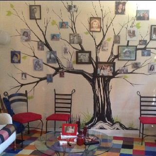 hand painted family tree wall mural photo display ideas. Black Bedroom Furniture Sets. Home Design Ideas
