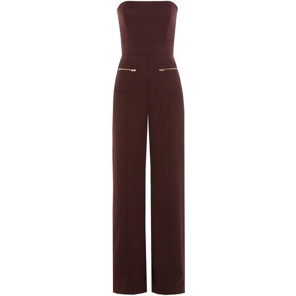 Maison Margiela Wool Jumpsuit (€608) ❤ liked on Polyvore featuring jumpsuits, jumpsuit, dresses, playsuits, pants, rompers, brown, wide leg romper, wide leg romper jumpsuit and red romper