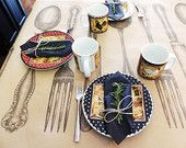 French Farmhouse Table Runner Spoon Fork Knife Kraft Paper 6 Feet