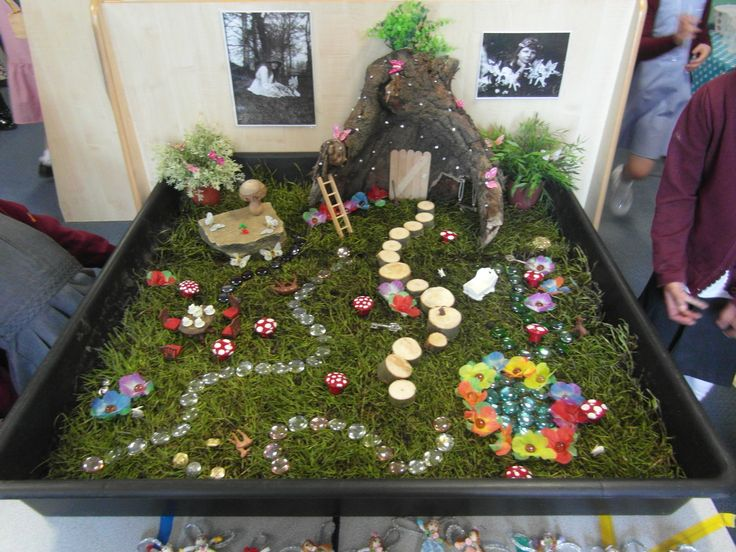 I would love to have a large tray of grass and a variety of materials for the children to build their own fairy gardens.