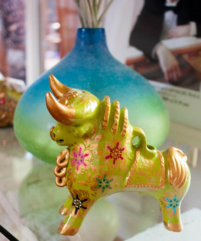 "Andean Pucara Bull 'Green glazed' 9"" H Amazing colorful bull hand painted. This artistic form has been inherited through hundreds of generations sustained in the belief that it provides new marriages with fertility, prosperity, happiness and the protection of home. At: psperu.com"