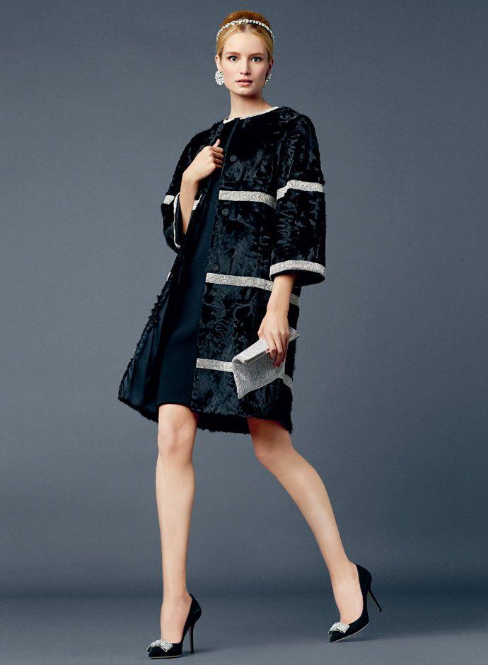 Dolce&Gabbana Spring Summer 2014 Crystal Mash Application Astrakan Fur Coat