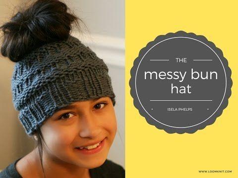Messy Bun Hat Video - Loom Knitting with Isela