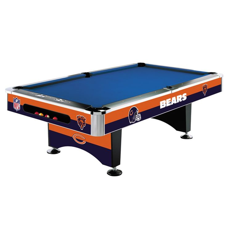 This Chicago Bears Pool Table by Imperial USA is the real deal! It is an 8-foot regulation sized, commercial quality NFL billiard table with 1-inch, 3-piece slate bed. The Chicago Bears graphics are p