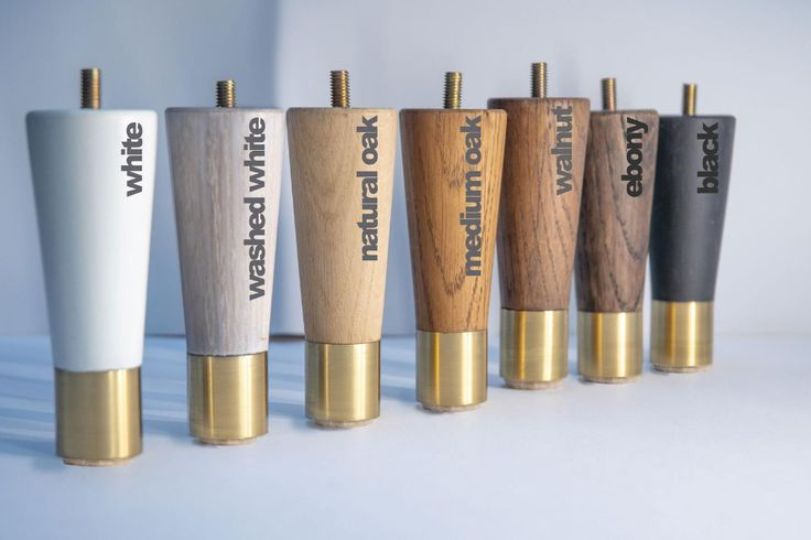 Tapered Oak Wooden Furniture Legs, Midcentury Furniture Legs