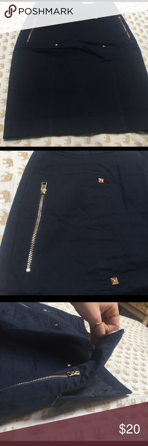 Navy blue pencil skirt Pencil skirt with side closure and gold accents Skirts Pencil