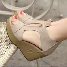 2015 nuevas sandalias femeninas mujeres wedges zapatos de plataforma verano vintage de tacón alto Peep Toe sandalia de tacón alto cabeza de pescado de la cremallera(China (Mainland))