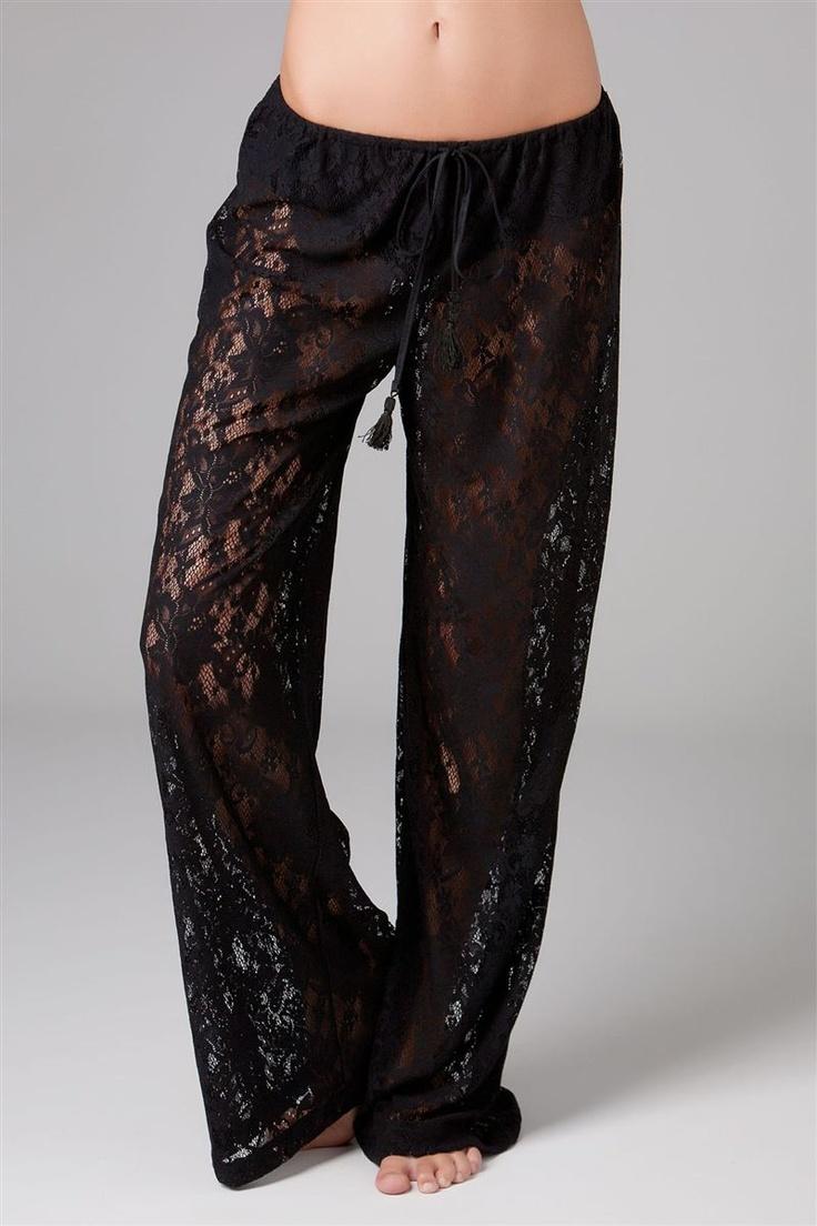 black lace pj pants