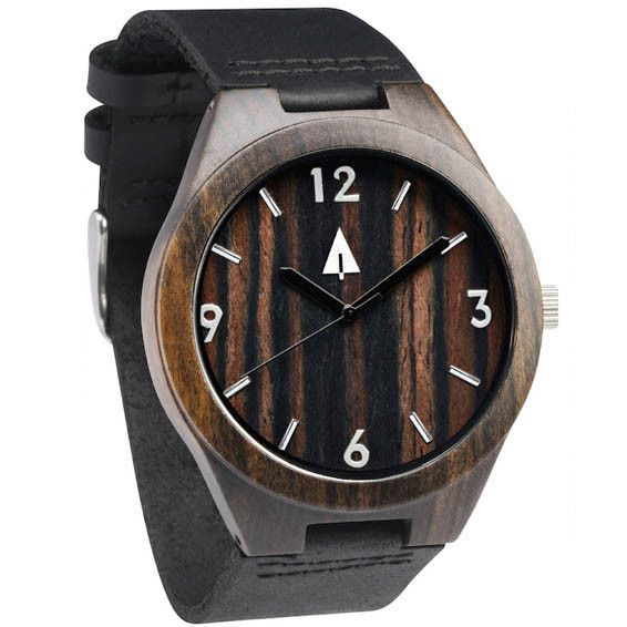 Tree Hut Black Watch | This wooden Tree Hut watch has genuine black leather bands and is handmade in San Francisco from real ebony wood with available engraving.