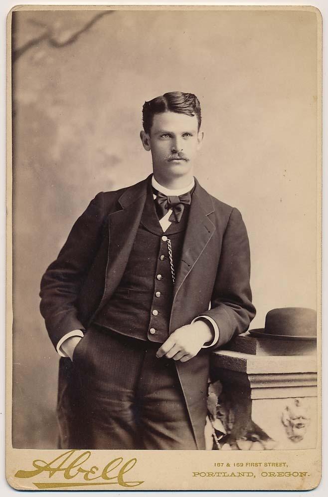 Handsome Mustache Man in Dapper Suit Hat Vtg Cabinet Card Photo