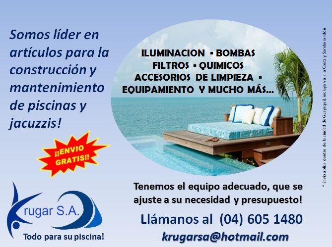 @krugarsa . todo para su piscina! Adquiera lo mejor en productos para una limpieza integral de su piscina, equipamiento, accesorios de mantenimiento y químicos para su desinfección.   Para pedidos llámanos al 04 6051480 ó escríbenos vía email a krugarsa@hotmail.com  #piscinas #ecuador #gye #guayaquil #enviogratis #adomicilio #viasamborondon #vialacosta #cuidatupiscina #quimicos #bombasdeagua #filtros #equipatupiscina #limpiezadepiscinas
