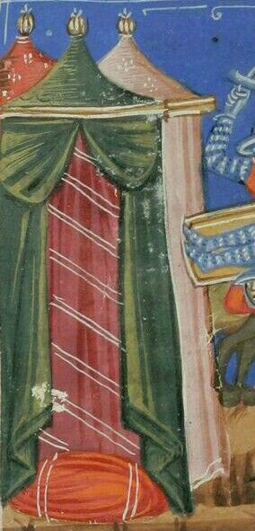 "Fabric ""floor"" in tent Manuscript:  Bodmer 78 Historia destructionis Troiae  Folio: 62v  Dating: 1370  From: Venice, Italy  Holding Institution: Fondation Martin Bodmer"