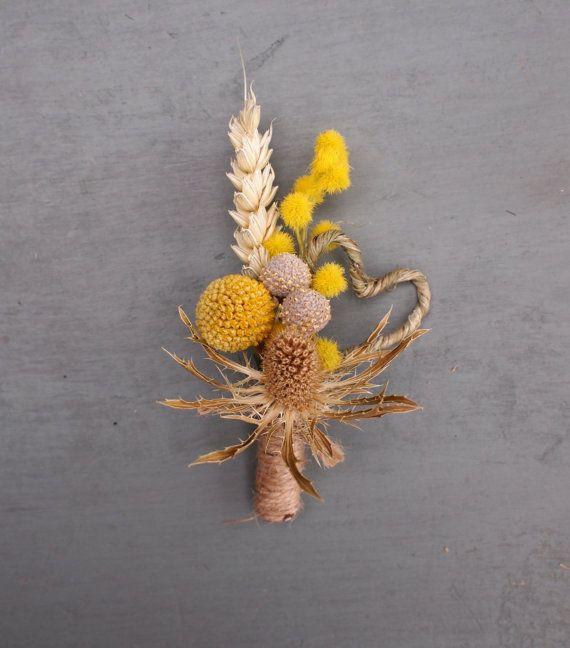 Dried Floral Rustic Wedding Boutonniere, Buttonhole, Thistle ,Craspedia, Mimosa, Heart, Everlasting Keepsake on Etsy, $14.66 AUD
