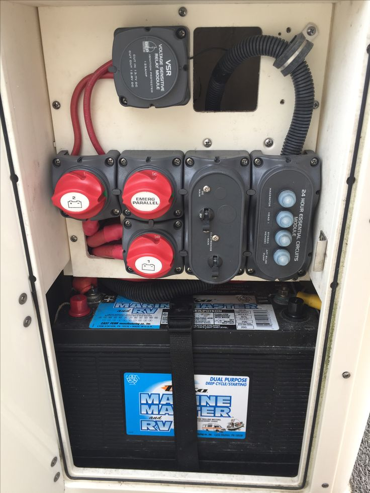 Boat electrics and switch layout on a single engine Pursuit C250 center console. Featuring Voltage Sensitive Relay and other BEP products.