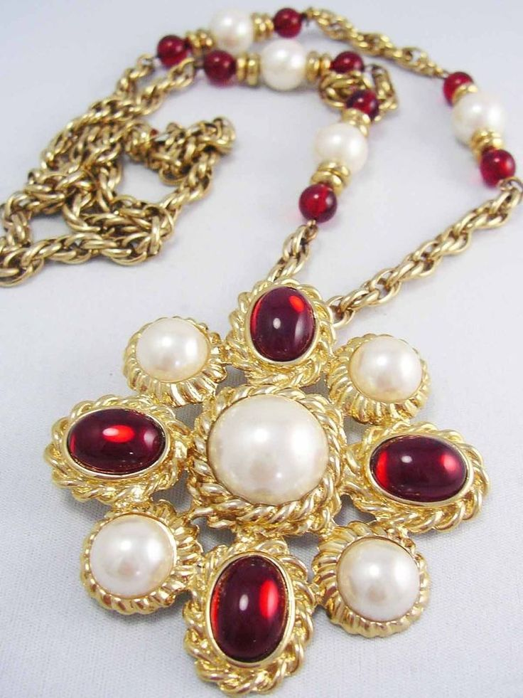 Vintage LARGE Ruby Red & Pearl Cabochon Cross Pendant & Chain ~ Game of Thrones~