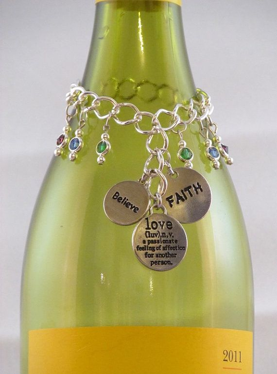 Wine Bottle Charm  Positive Thoughts by TrinketAGogo on Etsy, $15.00