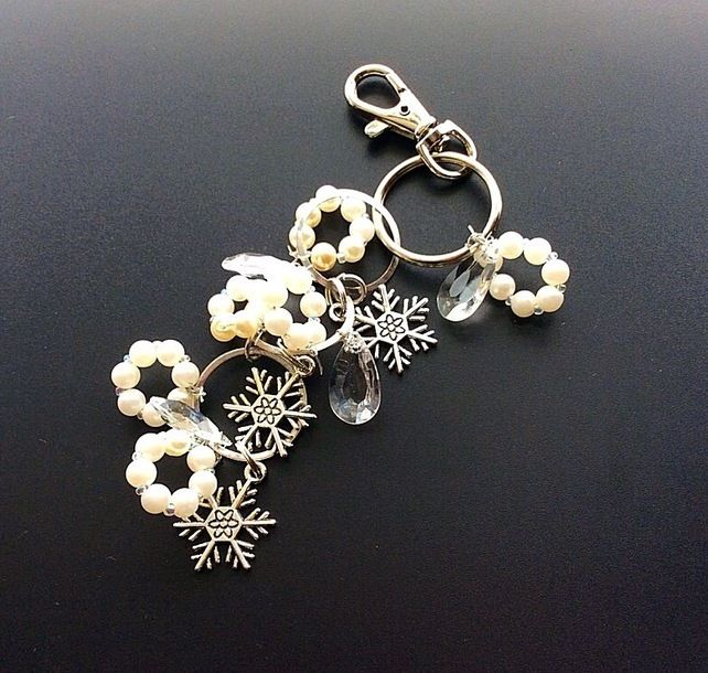 Handbag charms, pearl bag charms, silver zipper charms, secret santa £8.00