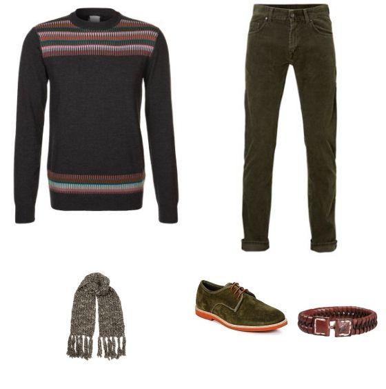 Casual Outfit outfit - Vrijetijdskleding - Deze winterse outfit is gebasseerd op warme, donkere kleuren. De donkergroene broek van GANT is gemaakt van een mooi, warm materiaal. Door de broek te combineren met de trui van Bertoni ontstaat een mooi geheel. De look is compleet met de schoenen van Derby's, de armband van Chasin' en de sjaal van Alveare.