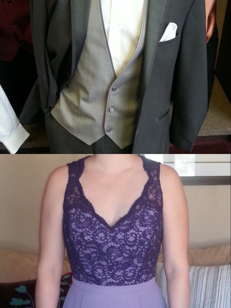 This is what the Gray Tuxedo Will look like on the Wedding Day. The Tie is not in the picture because the particular President Tuxedo store did not have them on hand.  The groomsmen will be in gray ties (not purple like prom match matchy) but the Groom's tie will be a lighter gray version of the Groomsmen to match with the two shades of purple, Jonathan and I decided on two shades of Gray for the tuxedo. Looks Great together. So excited to be getting married to my best friend!