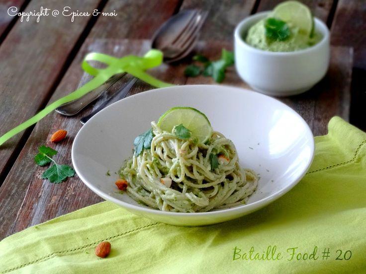 Spaghetti de riz sauce à l'avocat, citron vert et coriandre { Bataille Food # 20 }