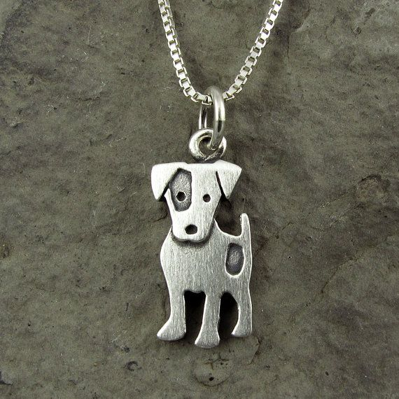 Tiny Jack Russell terrier necklace van StickManJewelry op Etsy